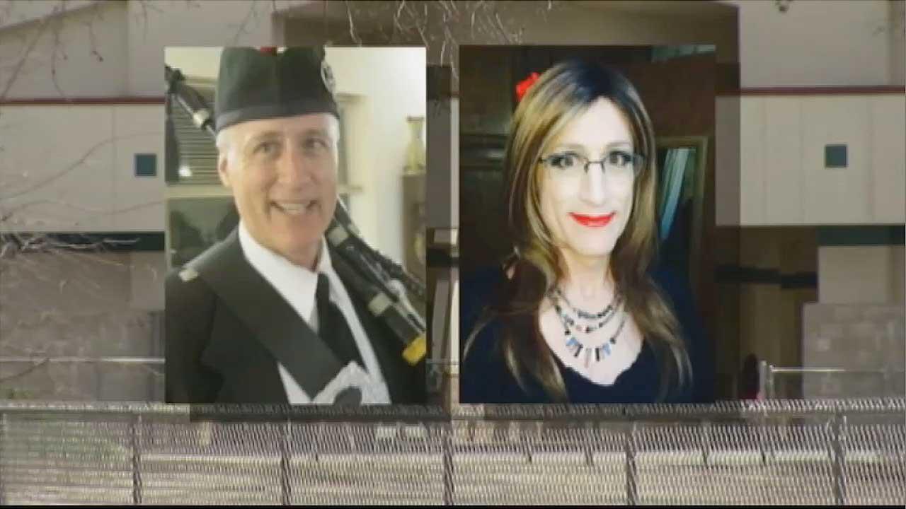 Yosemite High School teacher, Gary Sconce, left, prior to his transgender operation will return from spring break as the woman on the right named Karen Adell Scott.