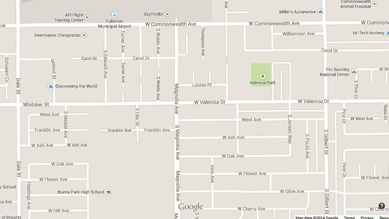 A map shows the intersection of Valencia Drive and Magnolia Avenue in Fullerton.