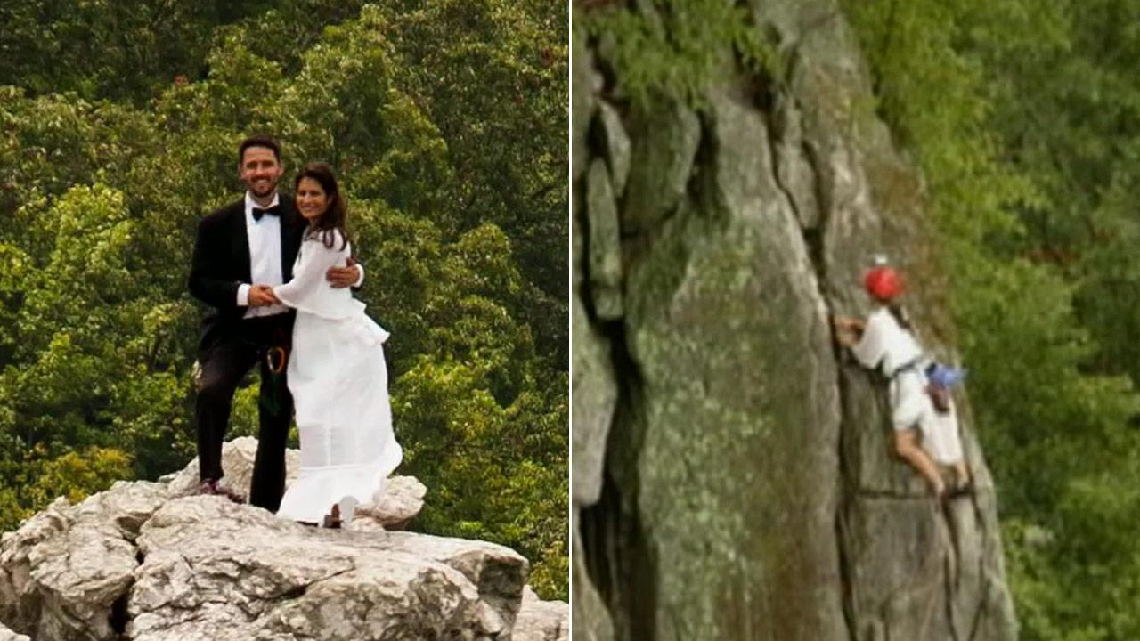 Bob Ewing and Antonie Hodge Ewing tied the knot atop the narrow peak of the Seneca Rocks in West Virginia.