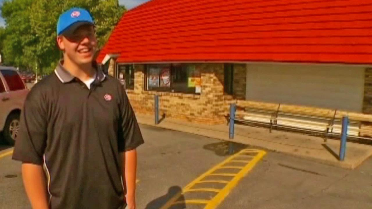Joey Prusak, 19, stands outside a Dairy Queen in suburban Minneapolis.