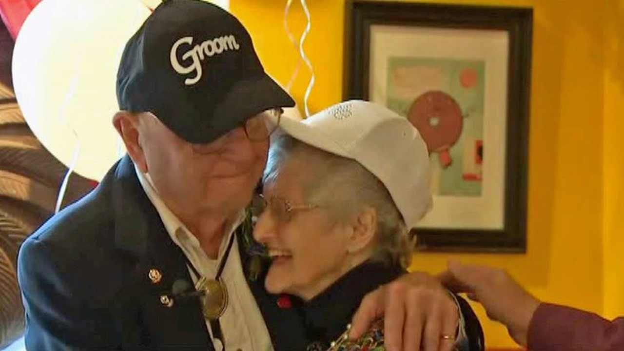 Andy Nilles, 93, and Gladys Salley, 90, both of Washington tied the knot Friday, Sept. 27, 2013.