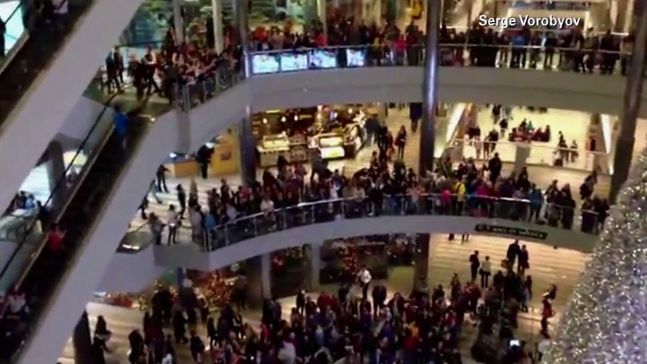 A Minnesota man tossed $1,000 to shoppers at the Mall of America in Bloomington, Minn., on Friday, Nov. 29, 2013.