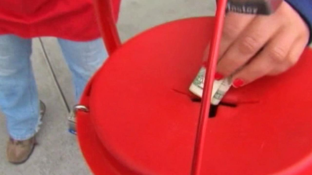 A Salvation Army bucket is shown in this undated file photo.