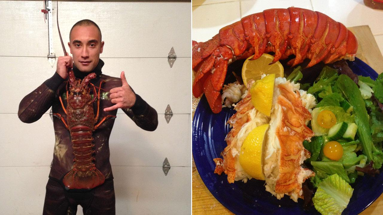 A diver in Huntington Beach made the catch of a lifetime when he caught an 18-pound lobster on Monday, Dec. 9, 2013.