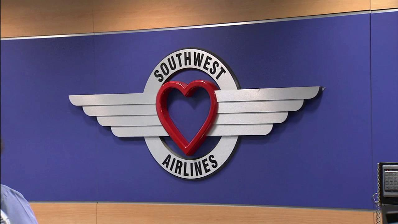 The Southwest Airlines logo is seen at the Burbank Airport on Monday, Aug. 6, 2012.