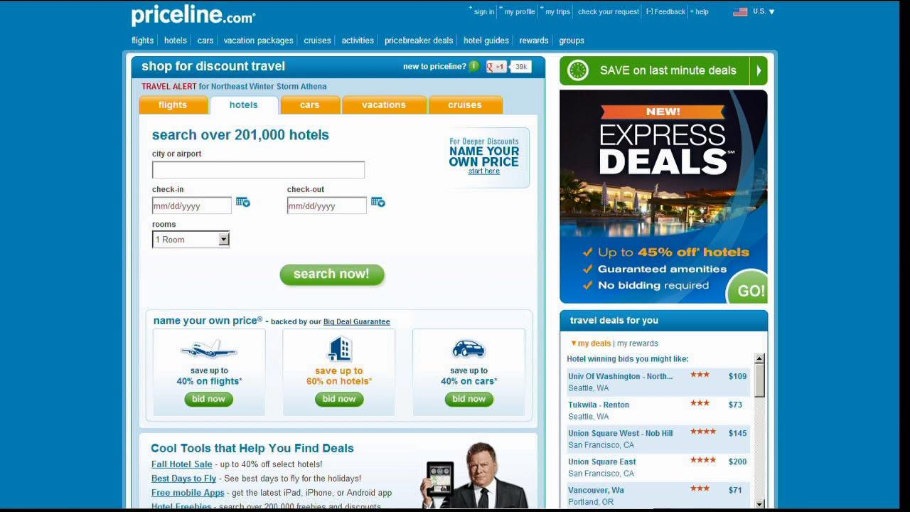 The Priceline.com website is seen in this undated file photo.