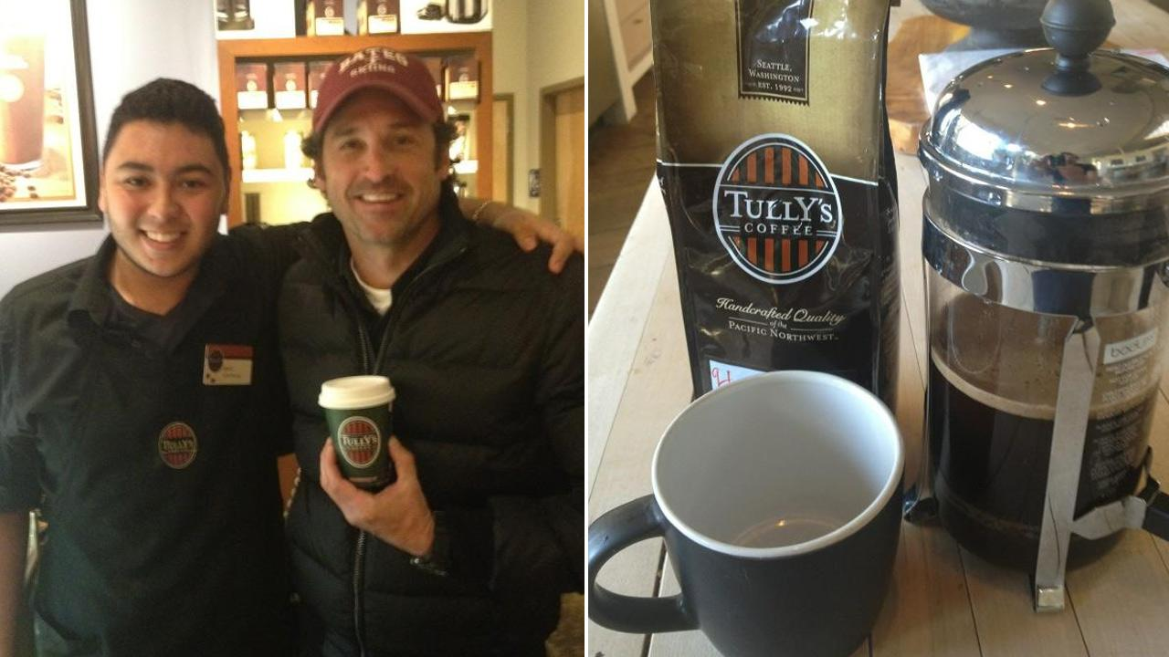 Actor Patrick Dempsey, seen in the above photo with a Tullys barista, posted these photos on his Twitter account.