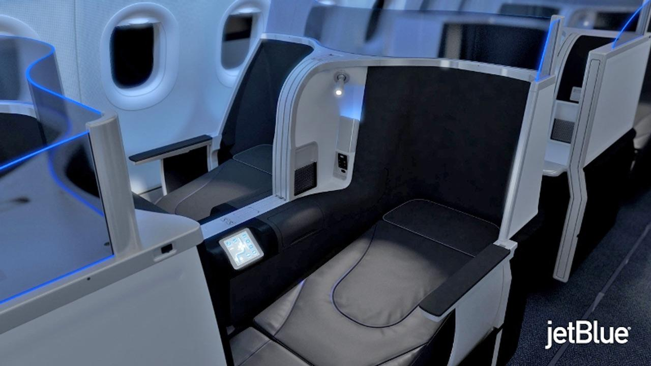 JetBlue released this image of a lie-flat sleeper seat that the airline will offer on certain transcontinental routes.