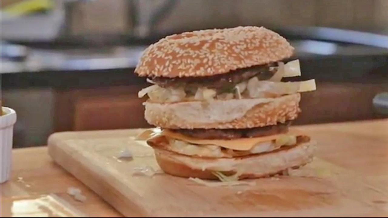 A homemade Big Mac made by McDonalds head chef Dan Coudreaut appears in this file photo. Coudreaut revelead the ingredients of the Big Macs sauce in July 2012.