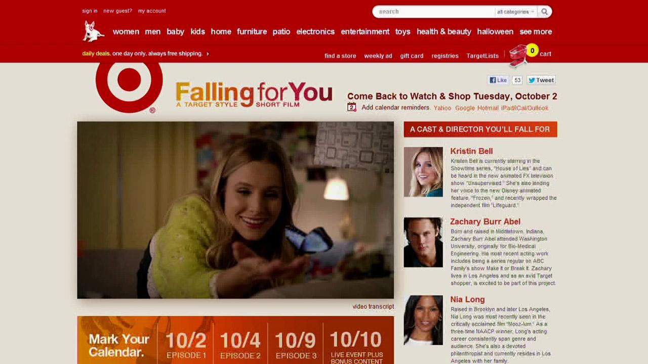 Targets website is shown in this screenshot, featuring actress Kristen Bell.