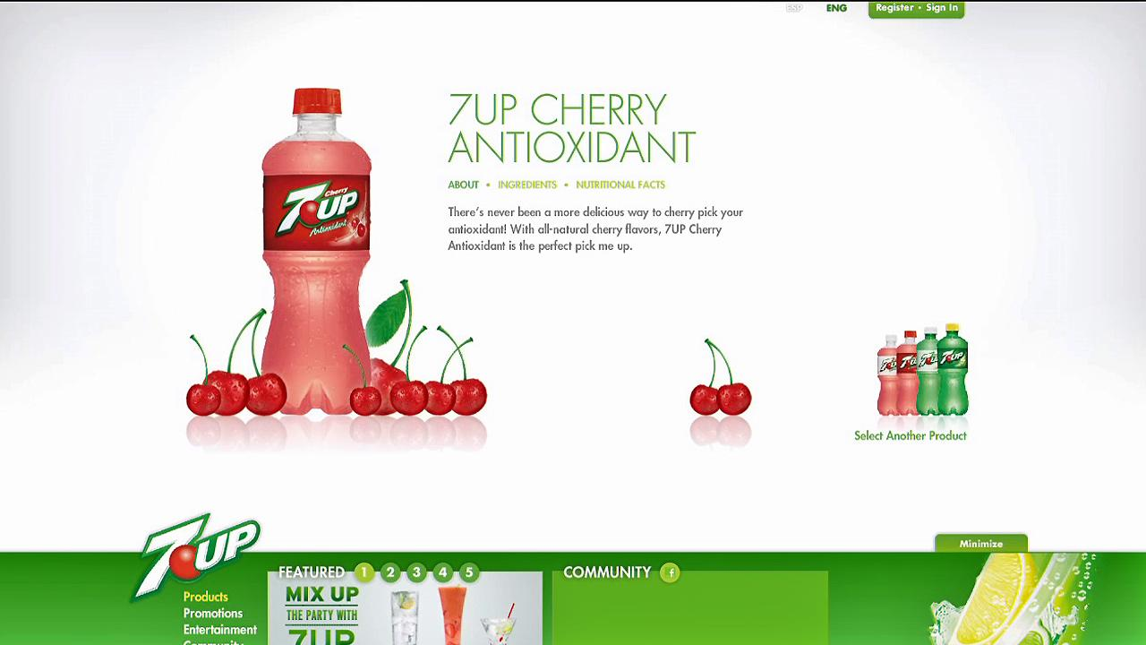 7UPs Antioxidant drinks are seen on the companys website in this file photo. The drink will be discontinued in 2013.