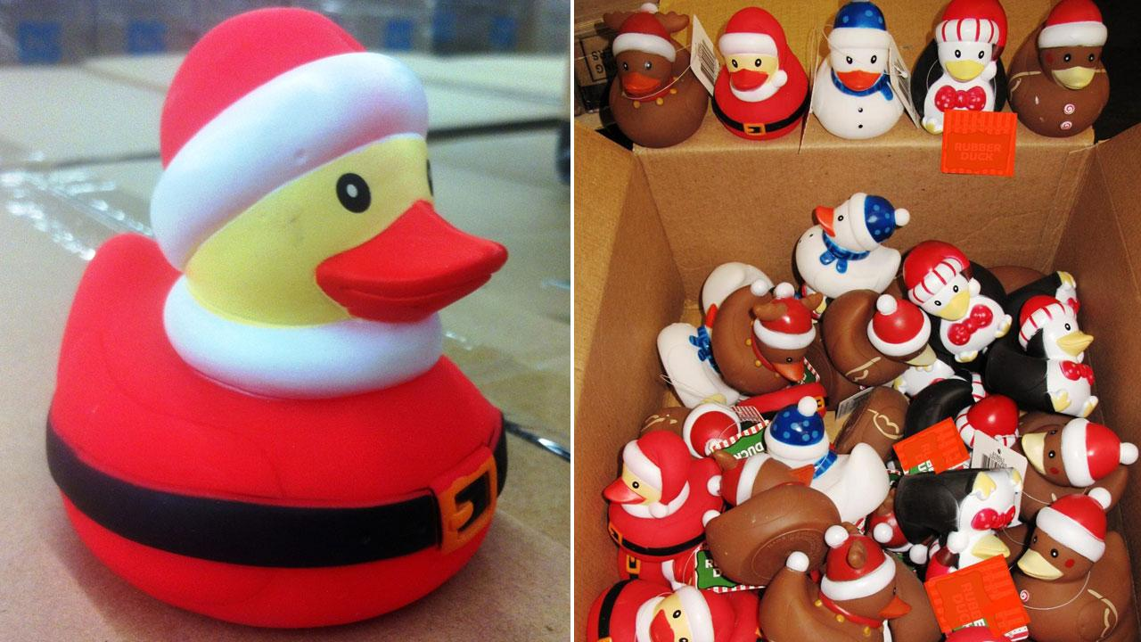 More than 35,000 rubber duck toys, seen in this U.S. Customs and Border Protection photo, were seized at the Ports of Los Angeles and Long Beach due to a harmful chemical on Tuesday, Dec. 4, 2012.