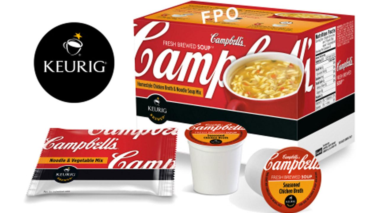 A Campbells Fresh-Brewed Soup K-cup pack is seen in this photo provided by Campbell Soup Company.