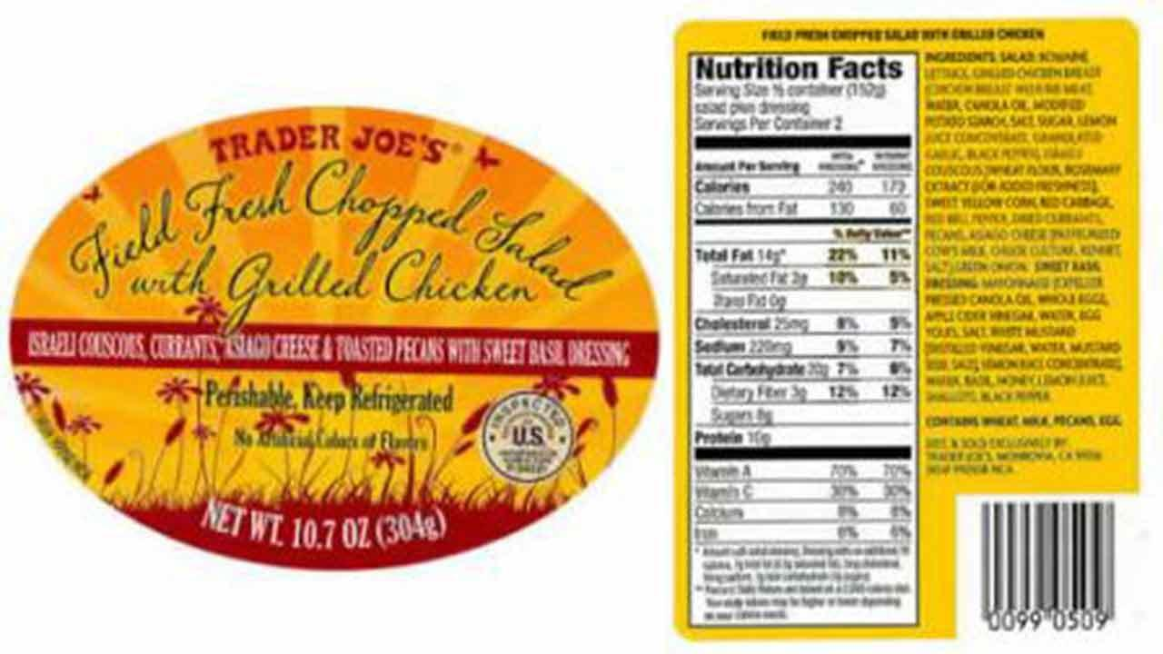 Plastic container wrappers of Trader Joes Field Fresh Chopped Salad with Grilled Chicken are seen in this undated file photo.