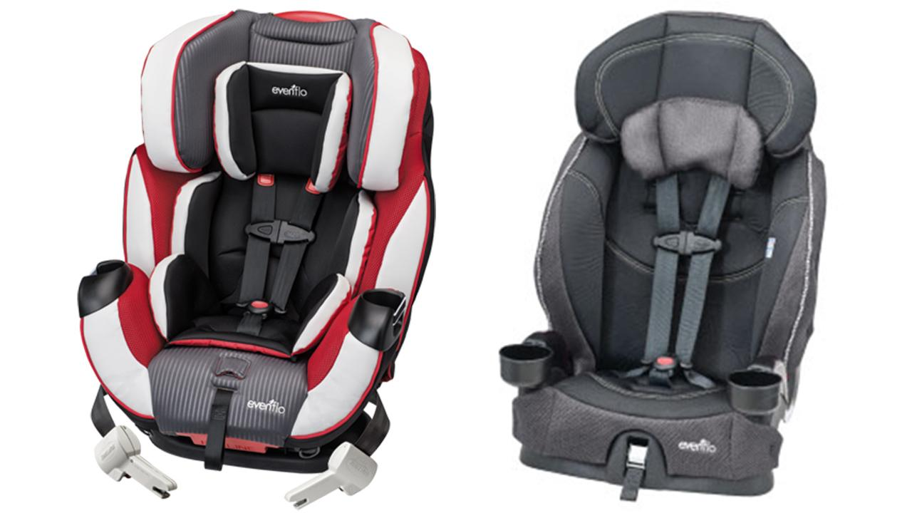 The Symphony DLX, left, and Chase Select, right, are two models of car seats Evenflo recalled on Monday, April 7, 2014.