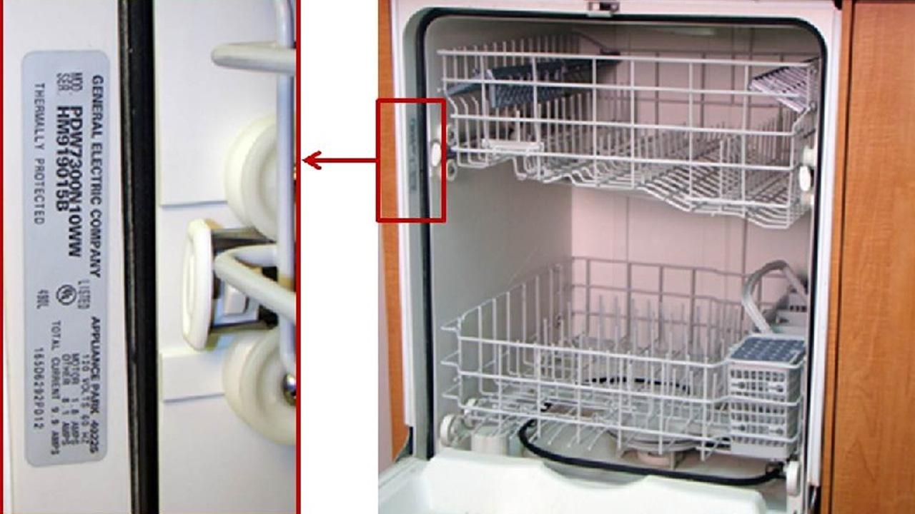 This photo shows where consumers can find the model and serial numbers on their GE dishwashers.