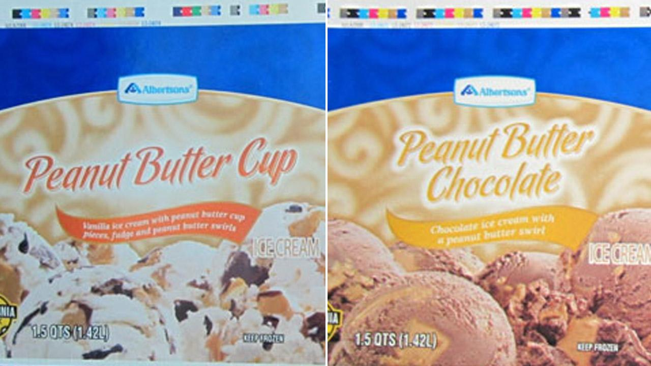 Two Albertsons brand ice cream flavors, seen above in photos released by the Food and Drug Administration, were recalled due to salmonella concerns.