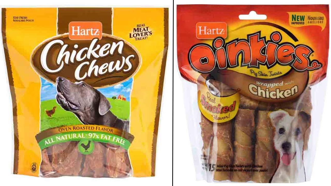 Hartz Chicken Chews and Hartz Oinkies Pig Skin Twists wrapped with Chicken