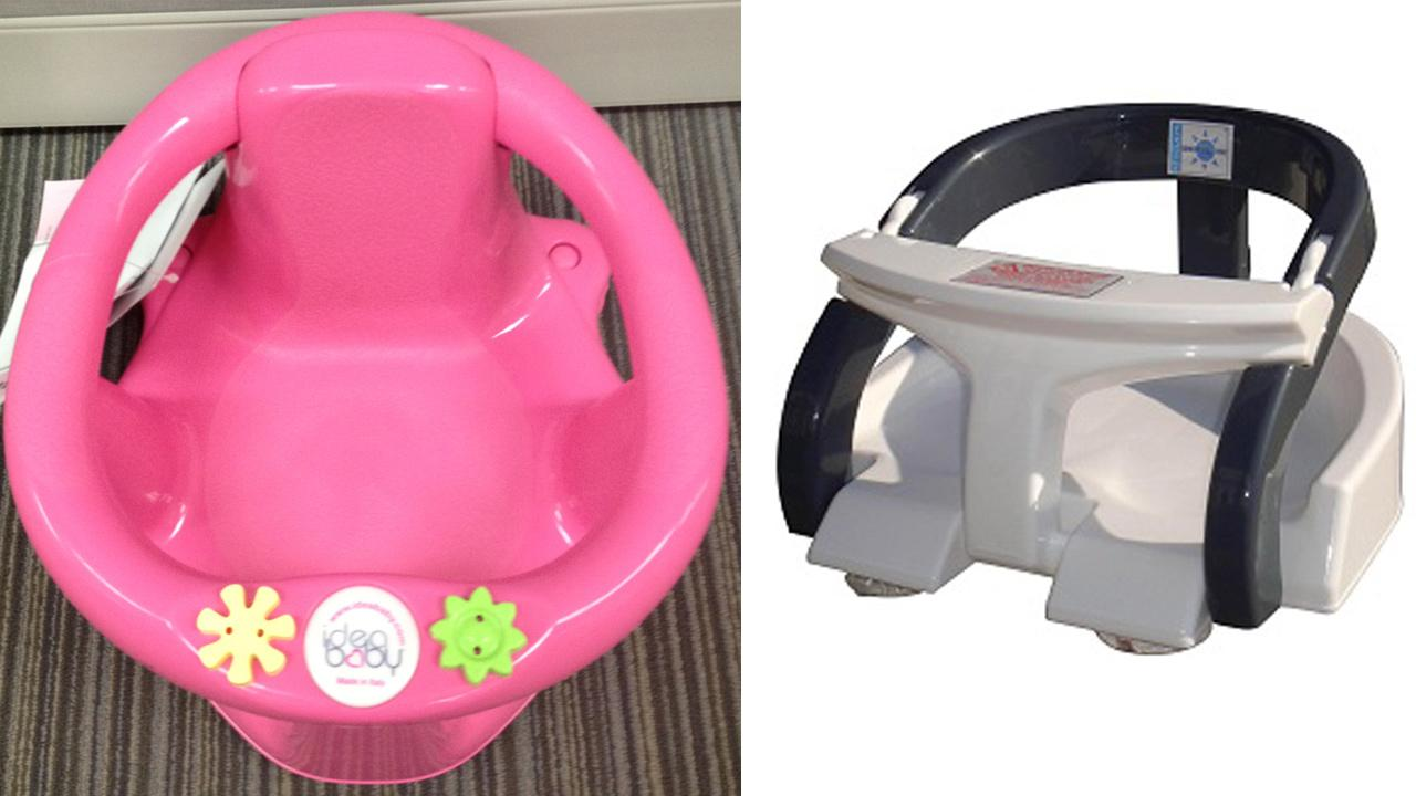 A Buy Buy Babys Idea Baby Bath Seat, left, and a BeBeLove E-Zee Bath Seat, right, are seen in undated file photos.