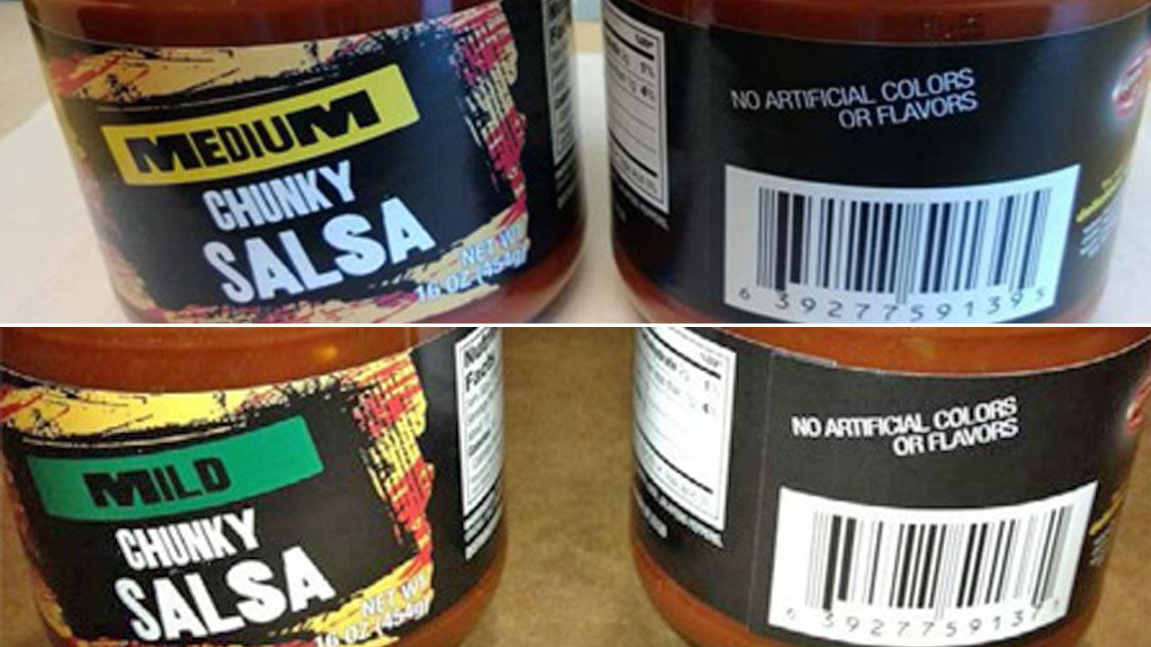 Olam Tomato Processors Inc.s Mild and Medium Chunky Salsa jars are shown in this image from the U.S. Food and Drug Administration.