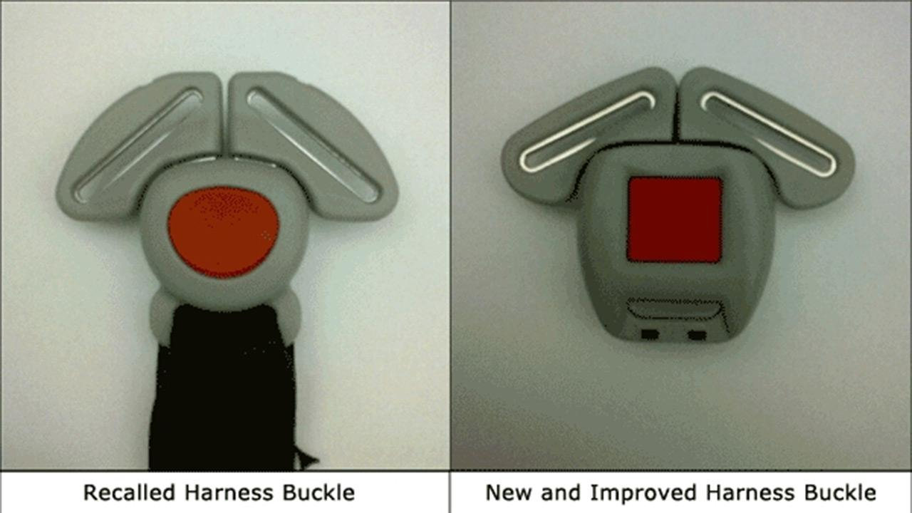 Graco is recalling nearly 3.8 million child car seats because children can get trapped by buckles that may not unlatch. The company provided these photos to consumers to show the recalled buckle and the new buckle that is available for replacement.