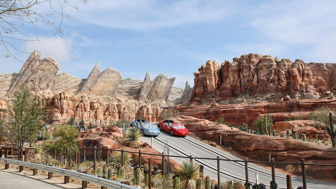 Radiator Springs Racers in Cars Land, shown here during testing, is a twisting turning, high-speed adventure through Ornament Valley and the town of Radiator Springs.