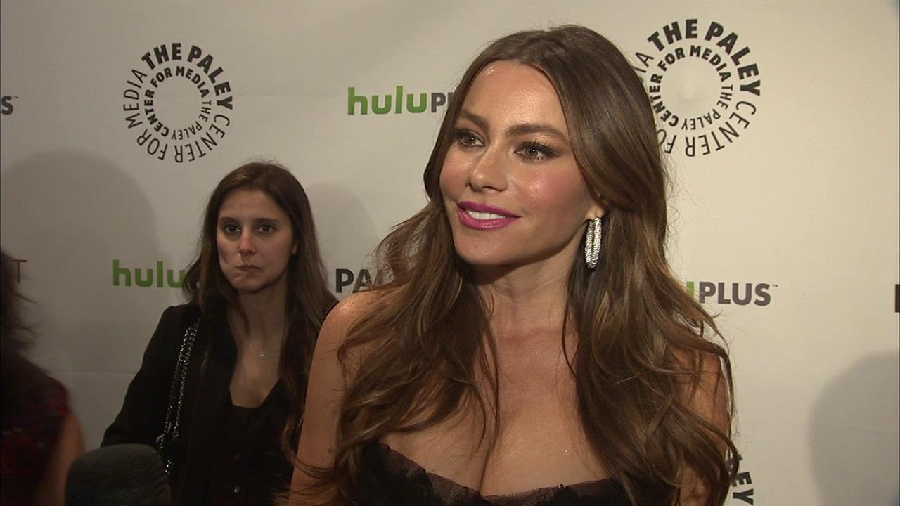 Sofia Vergara talks to the media before the PaleyFest 2012 panel discussion on the television series Modern Family, on Wednesday, March 14, 2012, in Beverly Hills, Calif.
