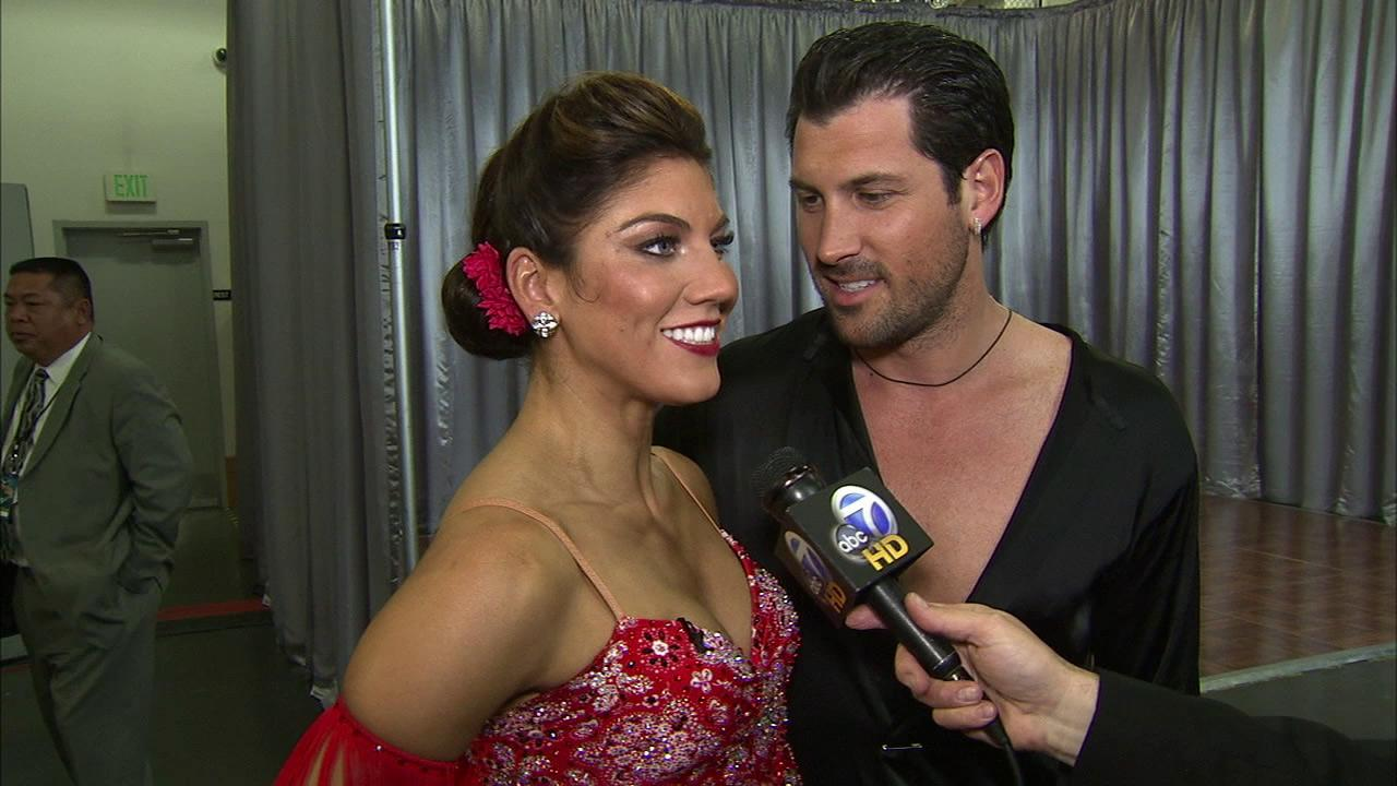 Hope Solo and Maksim Chmerkovskiy are seen in this file photo.