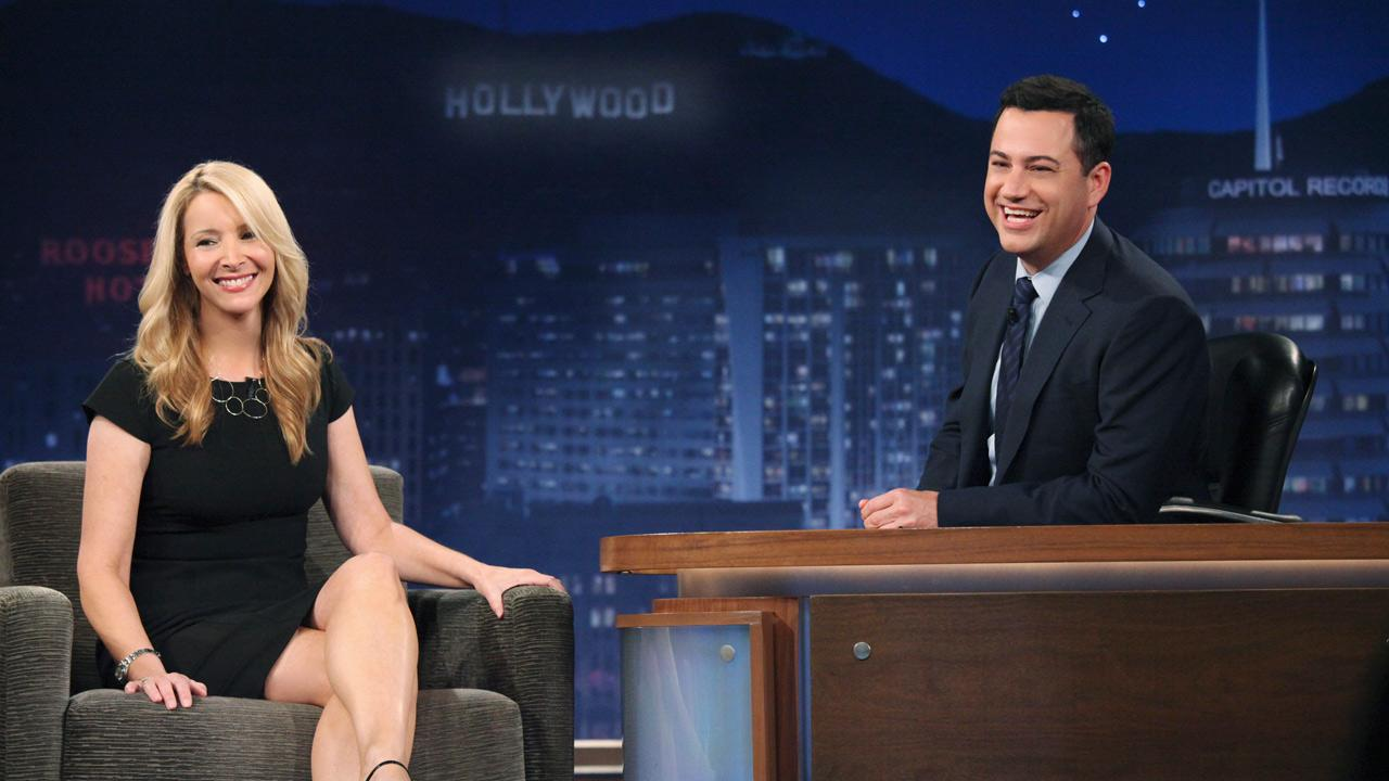 Actress Lisa Kudrow is seen with Jimmy Kimmel on Jimmy Kimmel Live on Wednesday, July 25, 2012.