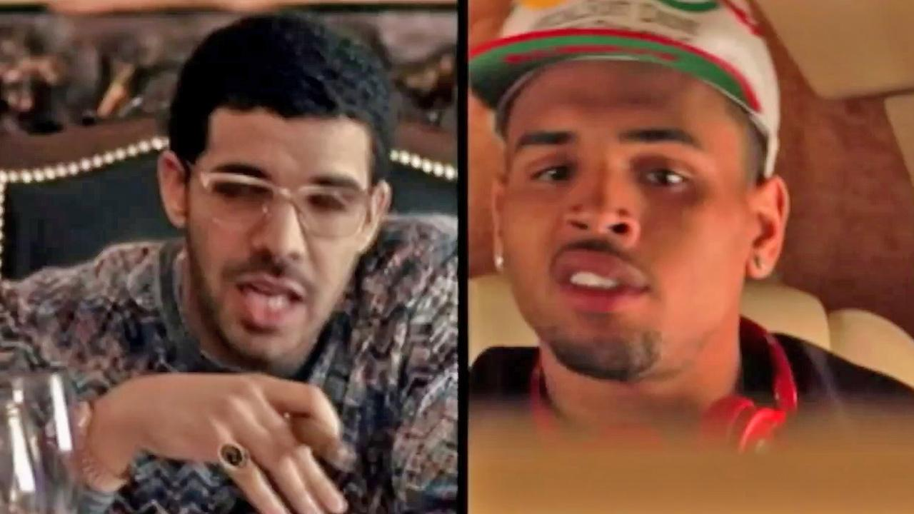 Singers Drake (left) and Chris Brown (right) appear in this undated file photo.