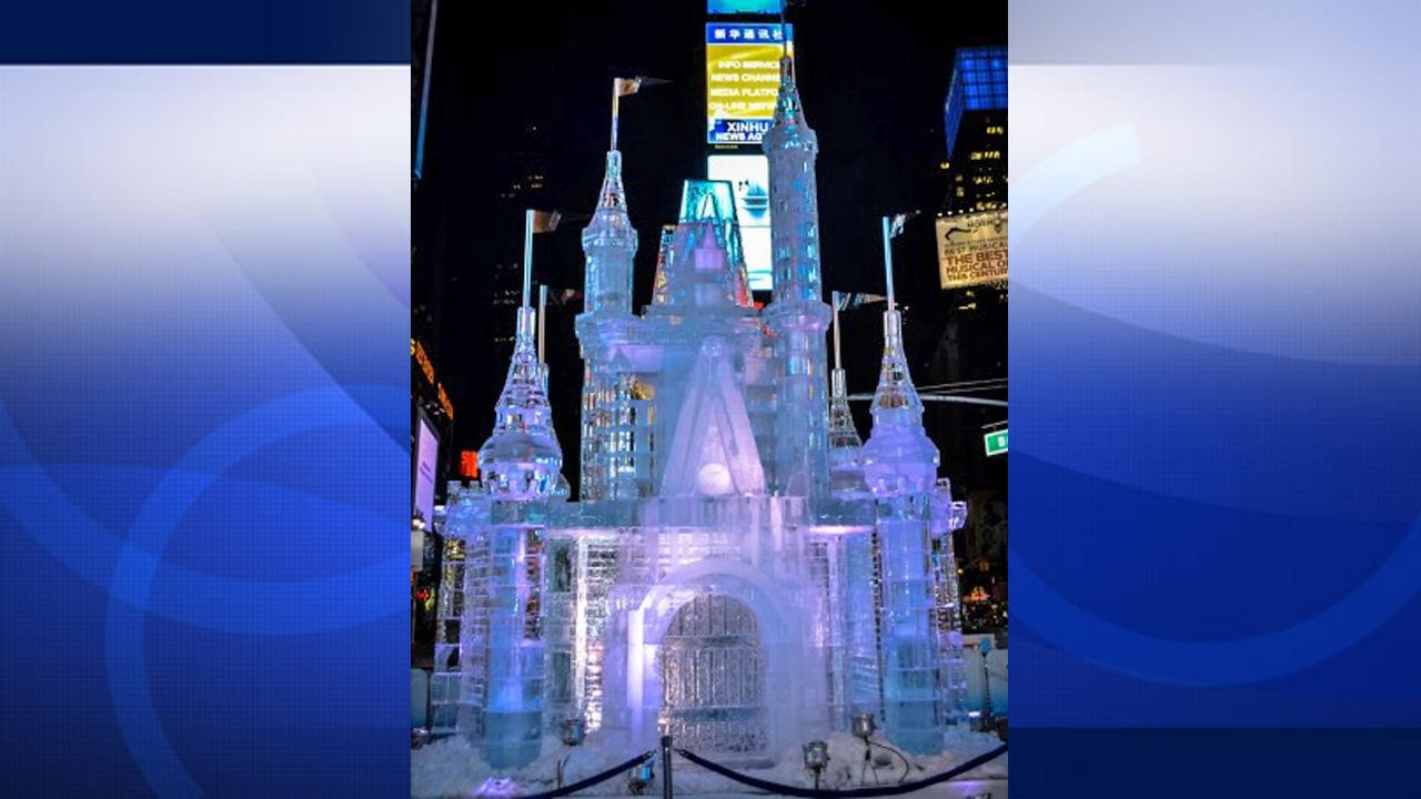 Disney erected a 25-foot-tall castle made of ice in New Yorks Times Square on Wednesday, Oct. 17, 2012. The stunt marked the launching of the companys Limited Time Magic program.