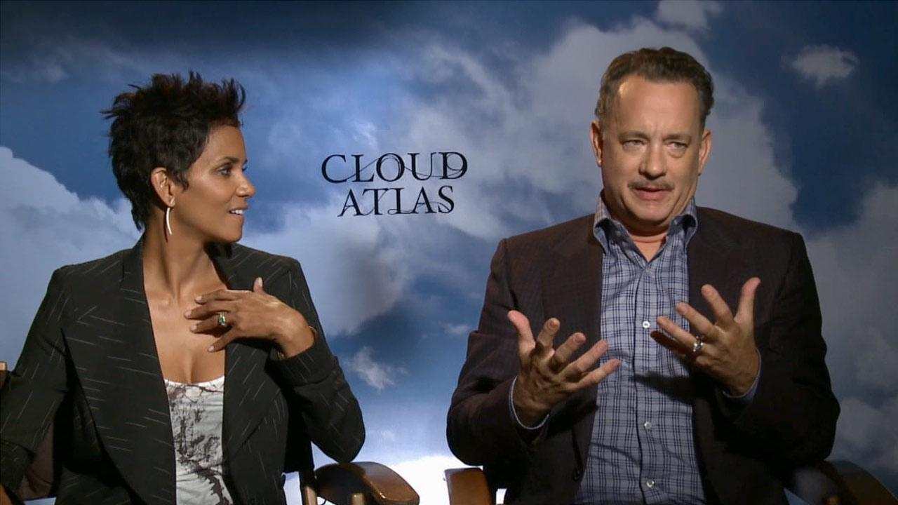 Tom Hanks and Halle Berry discuss playing six roles each in their new film, Cloud Atlas.