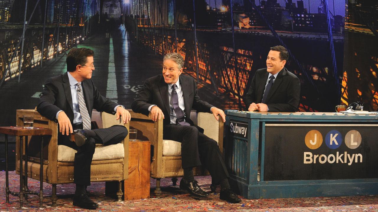 Jon Stewart and Stephen Colbert appear on Jimmy Kimmel Live! on Thursday, Nov. 1, 2012.