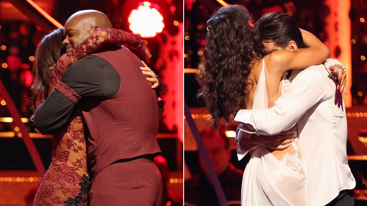 Emmitt Smith and partner Cheryl Burke (left) and Apolo Anton Ohno and partner Karina Smirnoff (right) hug after being eliminated from the competition on Dancing With The Stars: All-Stars on Tuesday, Nov. 20, 2012.