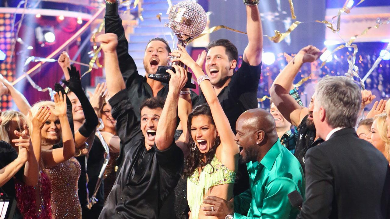 Reality star Melissa Rycroft and her partner Tony Dovolani react to winning on the Dancing With The Stars: All-Stars finale on November 27, 2012.