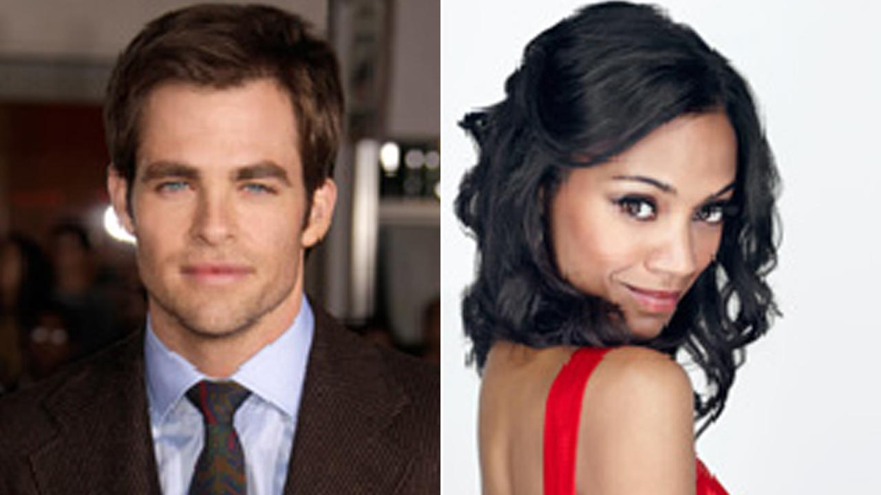 Chris Pine, left, and Zoe Saldana, right, are shown in file images provided by the Academy of Motion Picture Arts and Sciences.