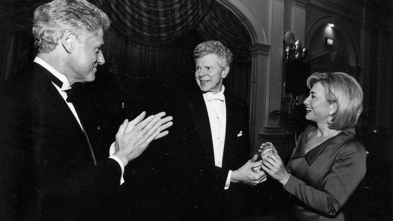 Van Cliburn is seen with former President Bill Clinton and former Secretary of State Hillary  Rodham Clinton.