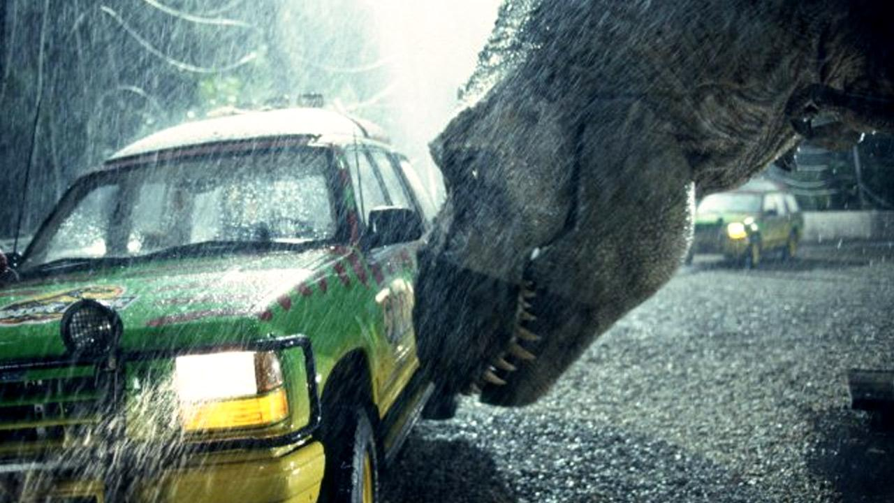 A scene from the 1993 movie Jurassic Park.