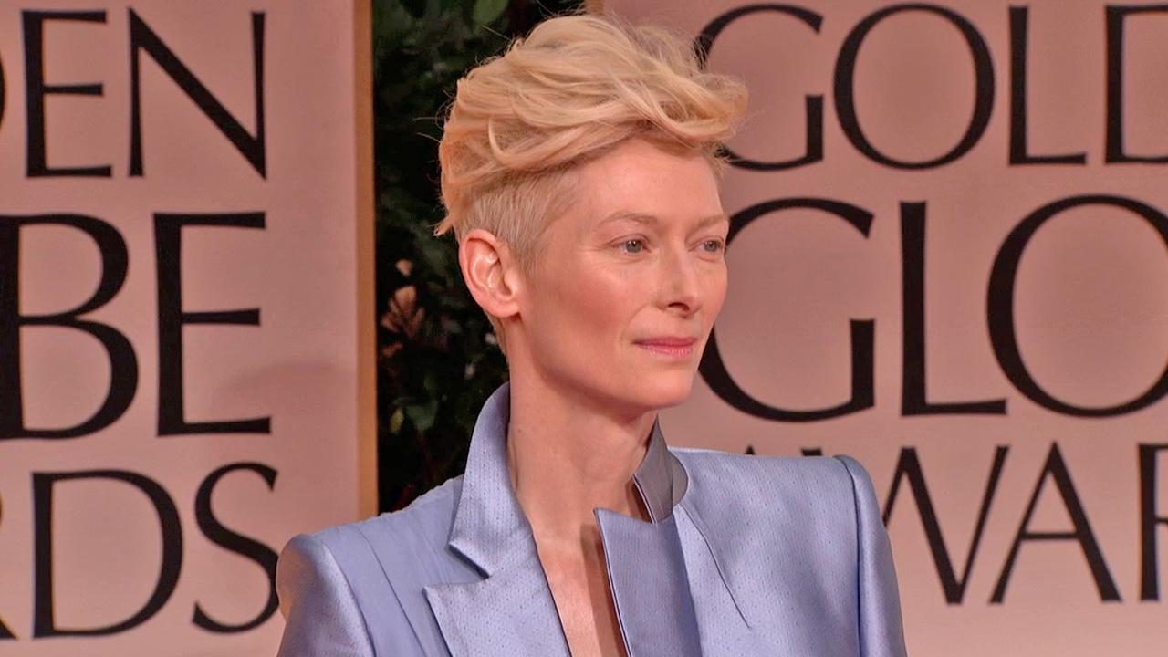 Tilda Swinton poses on the red carpet at the 69th Annual Golden Globe Awards Sunday, Jan. 15, 2012, in Los Angeles.
