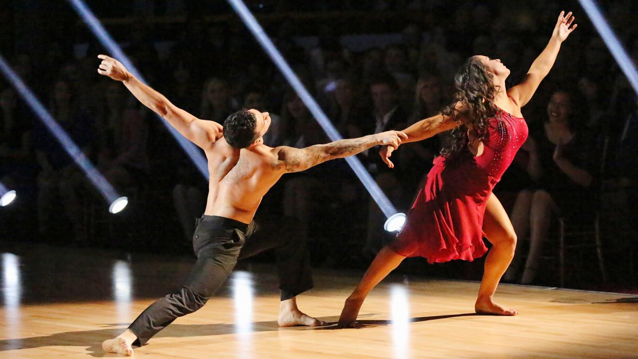 Olympic gymnast Aly Raisman and her partner Mark Ballas appear on Dancing With The Stars on April 8, 2013.