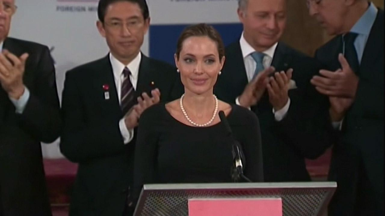Angelina Jolie adresses G-8 foreign ministers at a press conference held in London, England on Thursday, April 11, 2013.