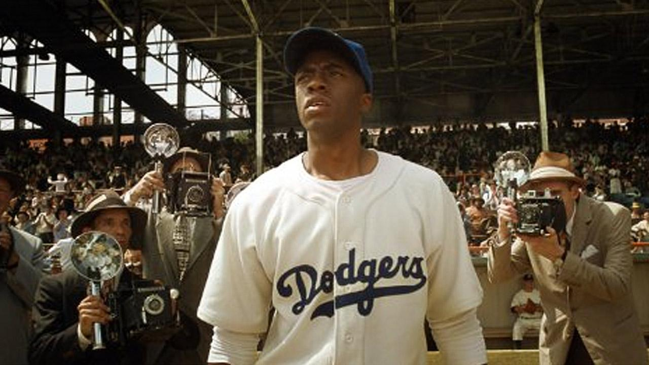 Chadwick Boseman appears in a scene from the Jackie Robinson biopic 42.