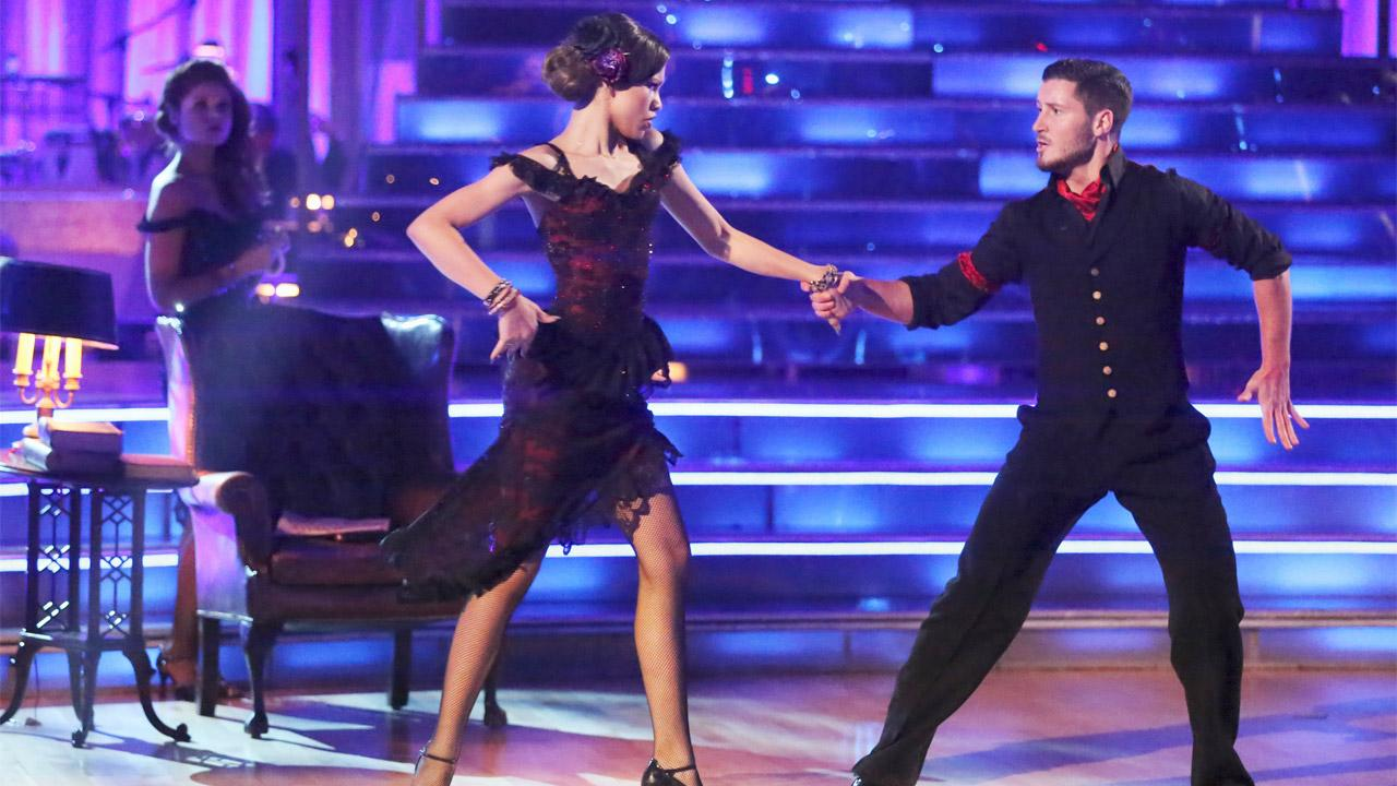 Shake It Up actress Zendaya Coleman and her partner Val Chmerkovskiy dance during a group ensemble on week 5 of Dancing With The Stars on Monday, April 15, 2013.
