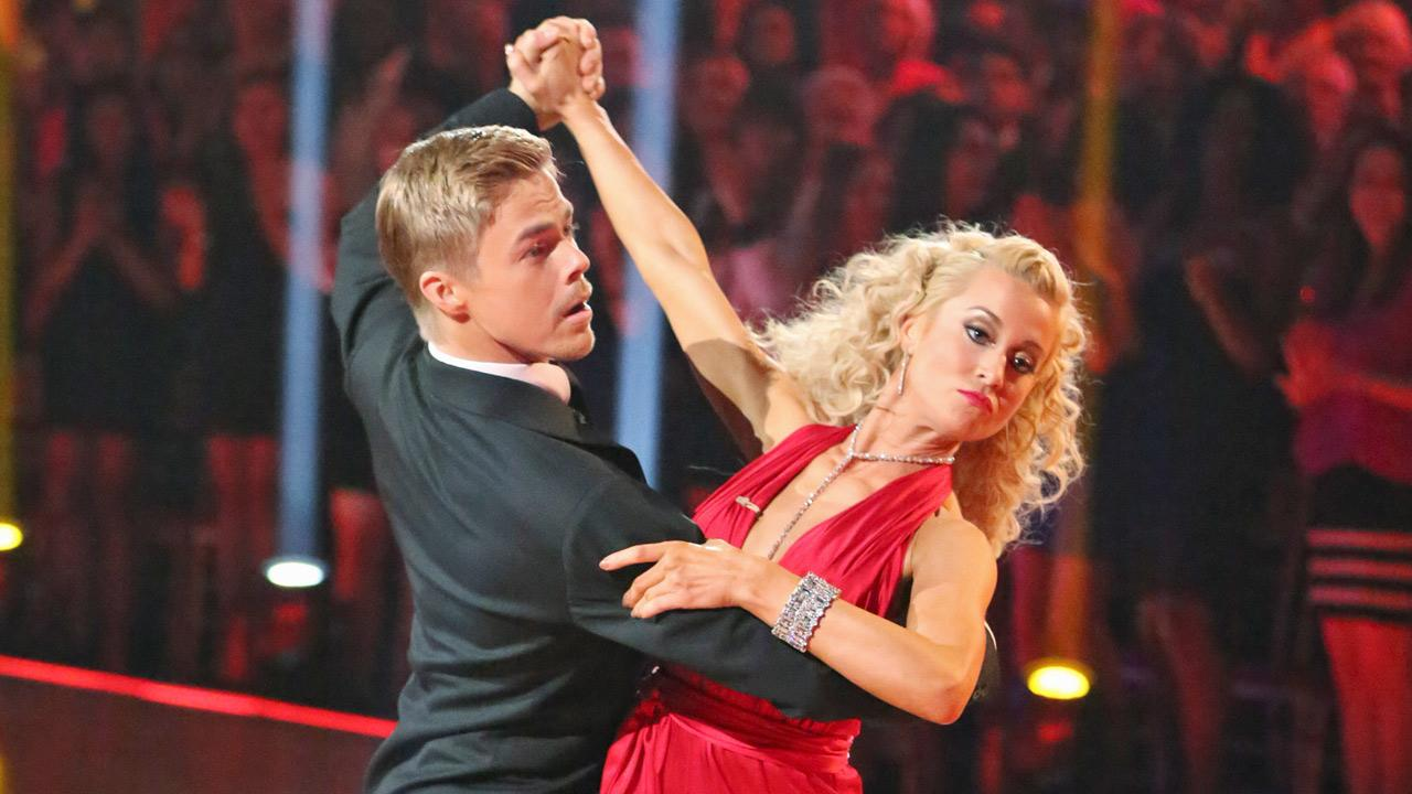 Kellie Pickler and partner Derek Hough received 29 out of 30 points from the judges for their Quickstep during week six of Dancing With The Stars on Monday, April 22, 2013.
