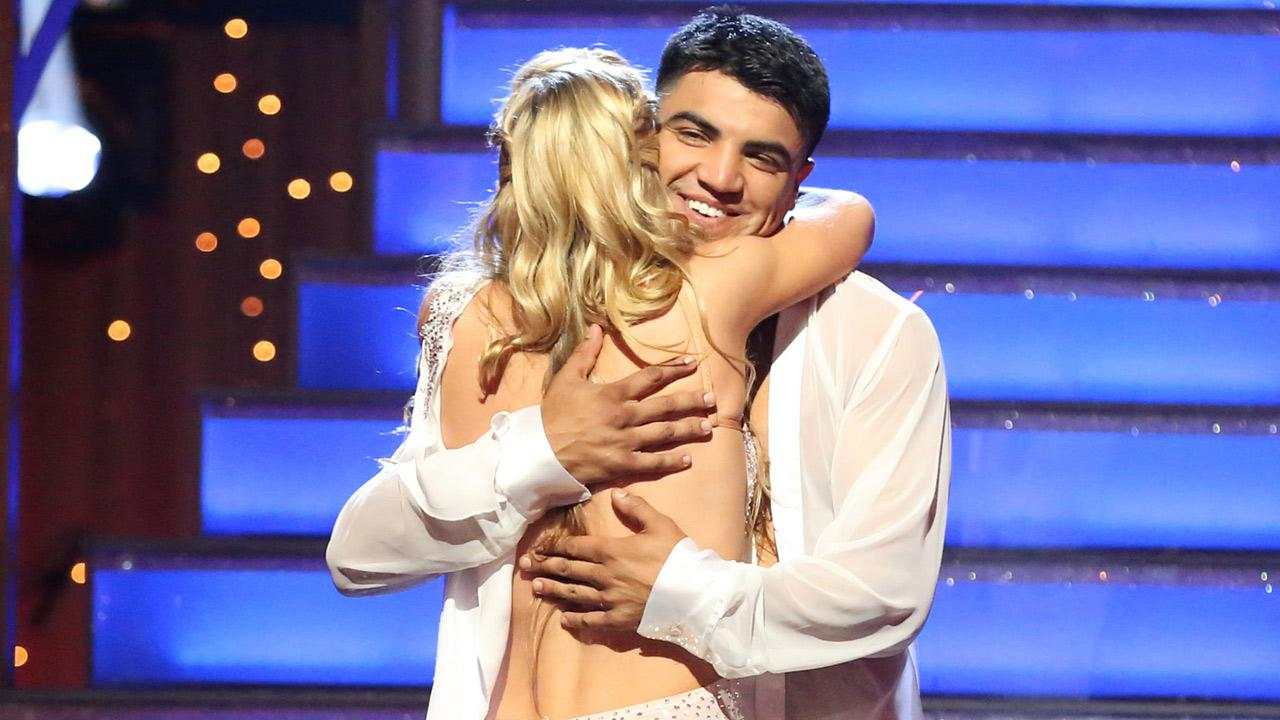 Boxer Victor Ortiz and partner Lindsay Arnold react after being eliminated from the competition on the Dancing With The Stars: The Results Show on Tuesday, April 23, 2013.