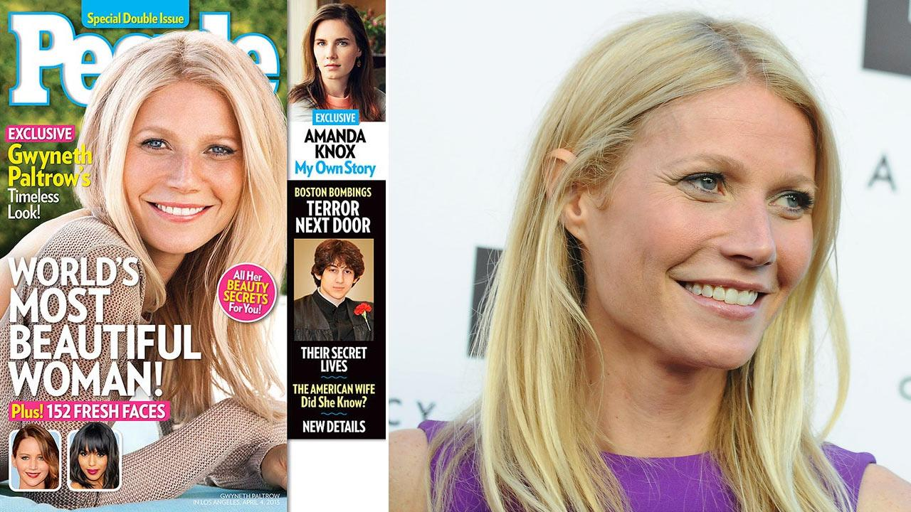 Gwyneth Paltrow appears on the cover of People magazine, left, and is shown arriving at the opening of the Tracy Anderson flagship studio on Thursday, April 4, 2013 in Los Angeles.