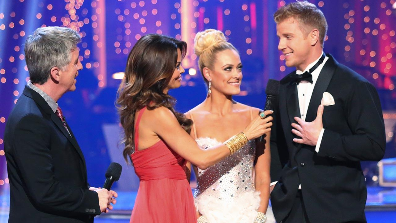 Bachelor Sean Lowe and partner Peta Murgatroyd react after being eliminated from the competition on the Dancing With The Stars: The Results Show on Tuesday, May 7, 2013.