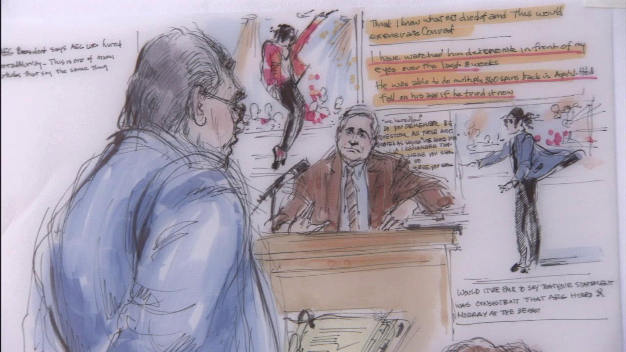 A courtroom sketch shows Randy Phillips, the CEO of AEG Live, during the Michael Jackson wrongful death trial in June 2013.