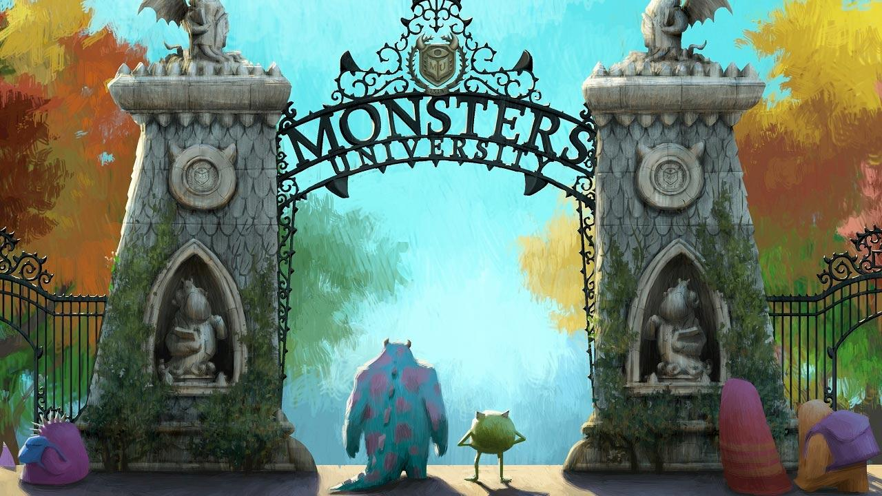 A still image from the 2013 animated film, Monsters University.