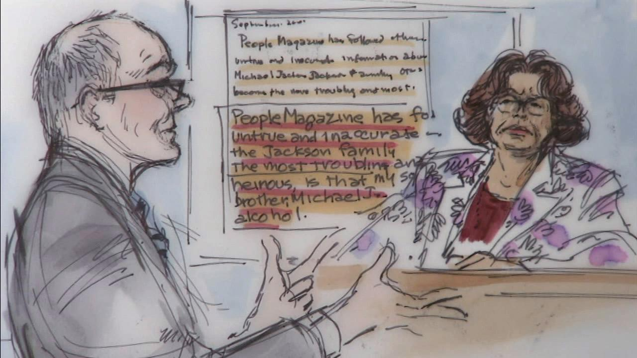 A courtroom sketch shows Michael Jacksons mother, Katherine Jackson, testifying in her sons wrongful death trial on Monday, July 22, 2013.